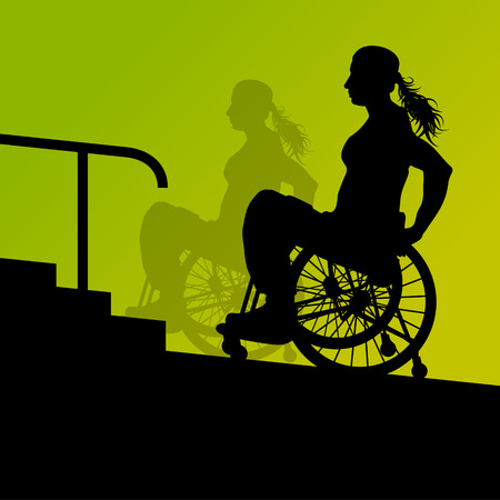Active disabled young woman in a wheelchair detailed health care stair steps concept silhouette illustration background vector