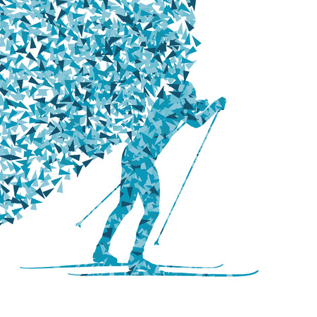 crosscountry: Cross country skiing vector background concept made of fragments cloud for poster
