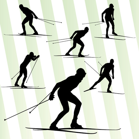 Cross country skiing vector background with sun for poster