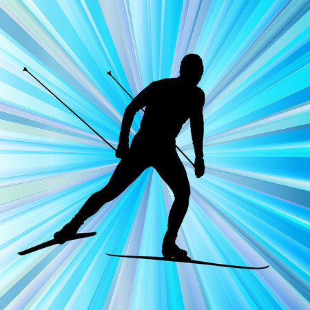 cross country skiing: Cross country skiing vector background with white color splashes concept