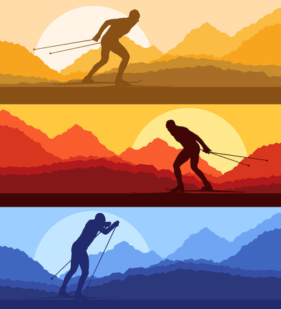 cross country skiing: Cross country skiing vector background with sun for poster