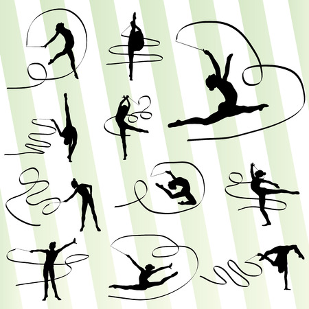gymnastics: Art gymnastics with ribbon vector background set for poster