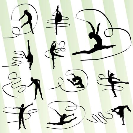 bailarines silueta: Gimnasia de arte con el fondo de la cinta de vector para el cartel
