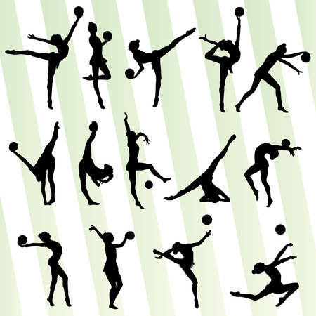 Art gymnastics with balls vector background set for poster Ilustracja