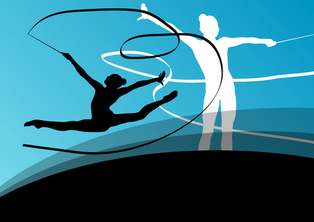 gymnastics: Active young girl gymnasts silhouettes in acrobatics flying ribbon abstract background illustration vector