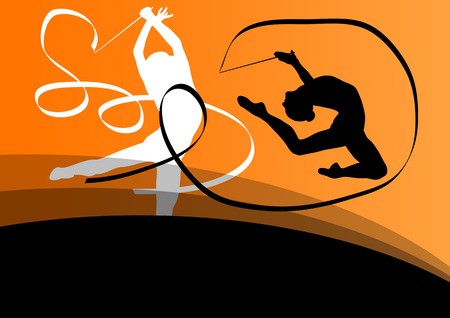 rhythmic gymnastic: Active young girl gymnasts silhouettes in acrobatics flying ribbon abstract background illustration vector