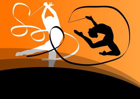 acrobacia: Activo chica joven gimnastas siluetas en acrobacias que vuelan cinta fondo abstracto ilustración vectorial