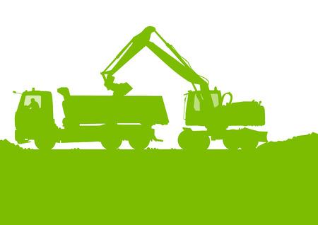 Exkavatorladevorrichtung Traktor Graben bei industriellen Baustelle Vektor Hintergrund Standard-Bild - 33873012