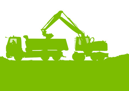 Excavator loader tractor digging at industrial construction site vector background