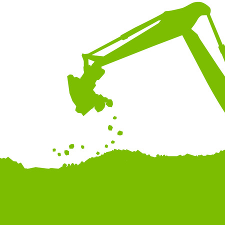 digging: Excavator loader tractor digging at industrial construction site vector background