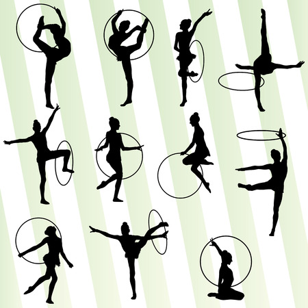 calisthenics: Active young girl gymnasts silhouettes in acrobatics spinning rings abstract  Illustration