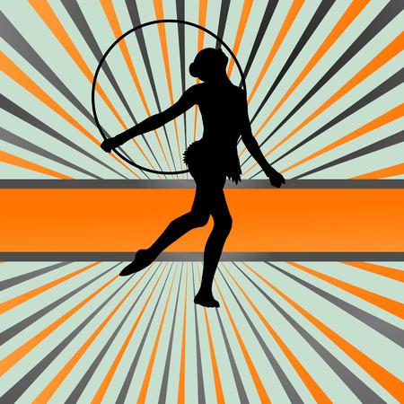 acrobatics: Activo chica joven gimnastas siluetas en anillos acrobacias giratorias abstractos