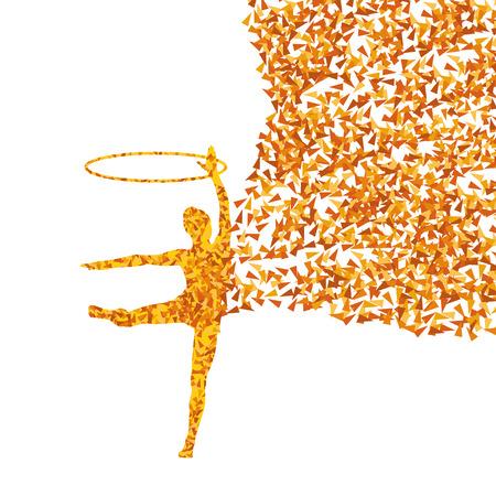 calisthenics: Activo chica joven gimnastas siluetas en anillos acrobacias giratorias