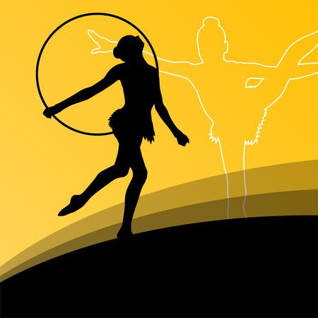 acrobatics: Activo chica joven gimnastas siluetas en anillos acrobacias giratorias