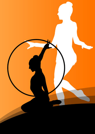 calisthenics: Active young girl gymnasts silhouettes in acrobatics spinning rings