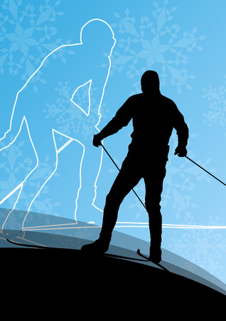 Active young men skiing sport silhouettes