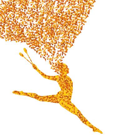 Rhythmic art gymnastics woman with clubs  Vector