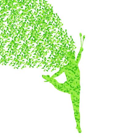 Rhythmic art gymnastics woman with clubs vector background concept Vector