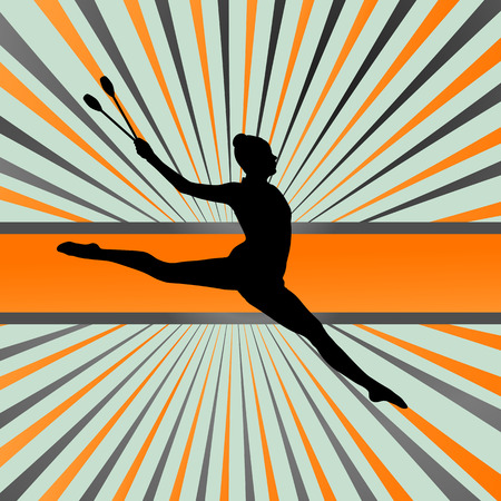 rhythmic gymnastic: Rhythmic art gymnastics woman with clubs background concept