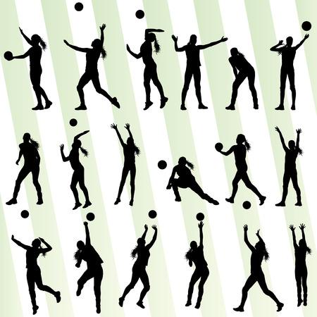 girl sport: Pallavolo donna giocatore sfondo set