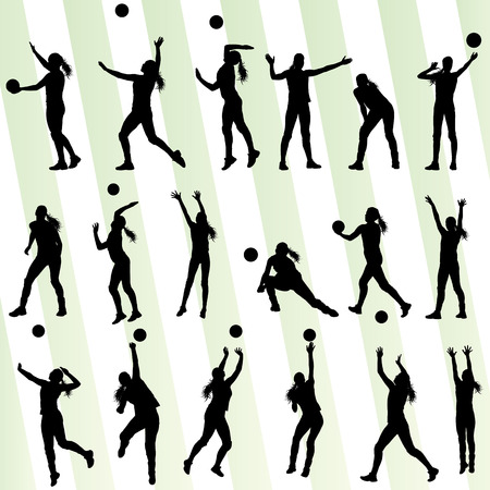 volleyball serve: Volleyball woman player background set Illustration