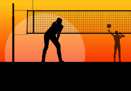 beach volleyball: Volleyball woman player background concept