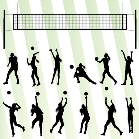 Volleyball woman player background set Stock Illustratie