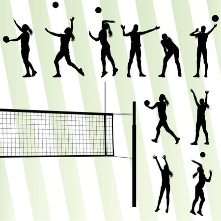pelota de voleibol: Jugadora de voleibol conjunto de vectores de fondo