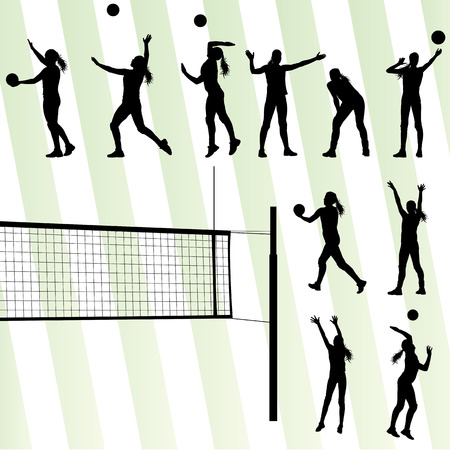 volleyball serve: Volleyball woman player vector background set Illustration