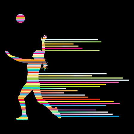 pelota de voley: Voleibol mujer concepto jugador fondo Vectores