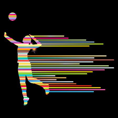 volleyball serve: Volleyball woman player background concept