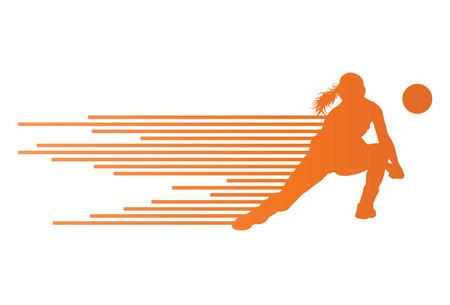 pelota de voleibol: Voleibol mujer concepto jugador fondo Vectores