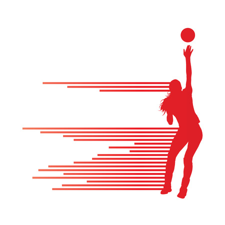 in net: Volleyball woman player background concept