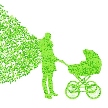 baby moeder: Moeder met kinderwagen vector achtergrond begrip gemaakt van fragmenten Stock Illustratie