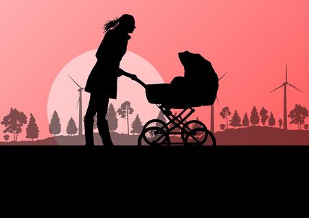 baby moeder: Moeder met baby kinderwagen outdoor vector ecologie, achtergrond, concept