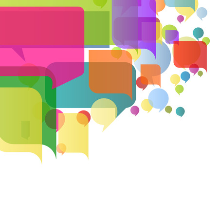 gossiping: Colorful speech bubbles and balloons cloud illustration background vector concept