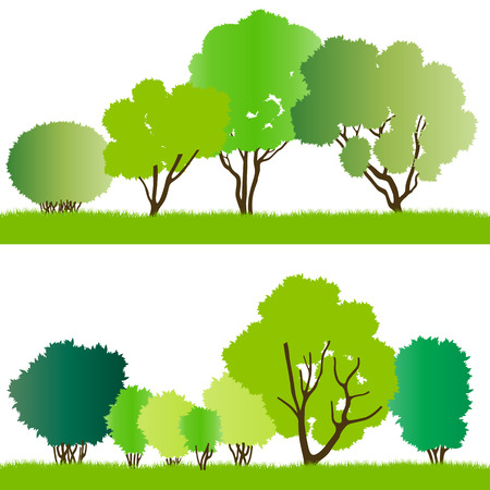 illustration collection: Forest trees silhouettes illustration collection background vector for poster