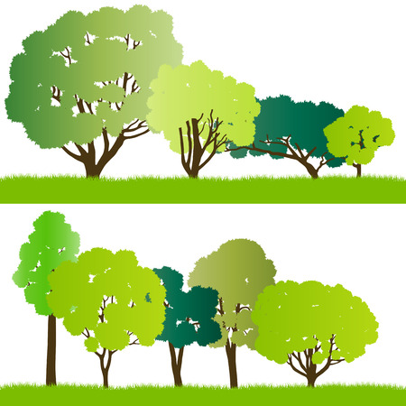 Forest trees silhouettes illustration collection background vector for poster Vector