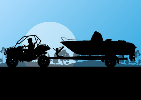 Yacht boat trailer vector background landscape with all terrain vehicle for poster Illustration