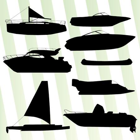 boast: Yachts, vantano silhouettes set sfondo vettoriale per poster