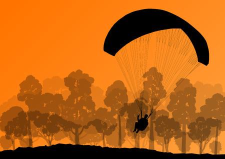 Paragliding active sport background landscape concept vector for poster
