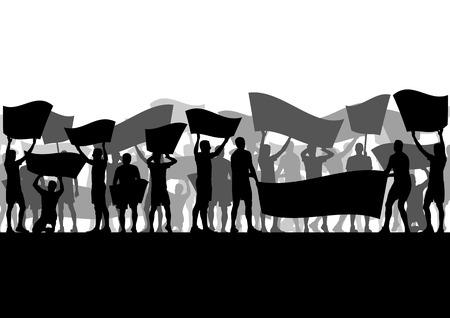 political rally: Протестующие злые люди толпятся с плакатами и флагами в абстрактный беспорядками пейзаж фон иллюстрации
