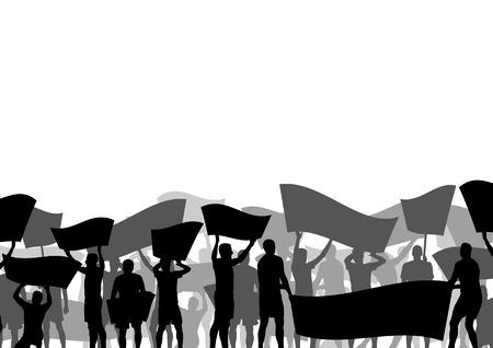 Demonstranten boos mensen menigte met posters en vlaggen in abstracte rel landschap achtergrond illustratie
