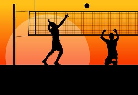volleyball serve: J�venes siluetas hombres jugador de voleibol deporte activo en ilustraci�n de fondo abstracto