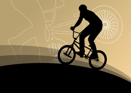 helmet seat: Extreme cyclists bicycle riders active children sport silhouettes vector background illustration