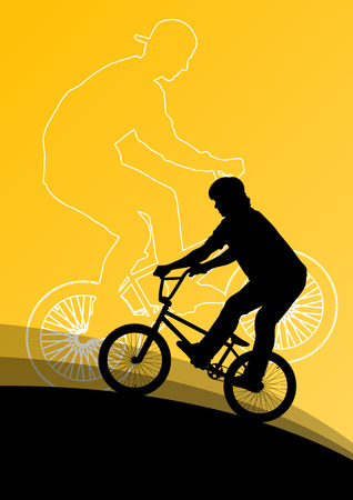 stunts: Extreme cyclists bicycle riders active children sport silhouettes vector background illustration