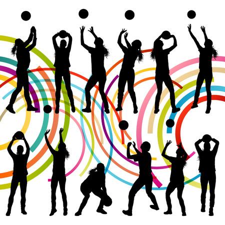 pelota de voleibol: Activo mujeres j�venes jugador de voleibol deporte siluetas en color de fondo abstracto ilustraci�n vectorial