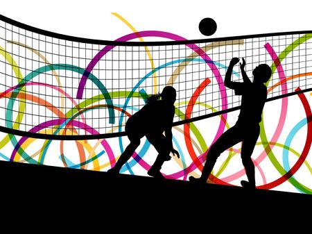 Actieve jonge vrouwen volleybal speler sport silhouetten op abstracte kleur achtergrond illustratie vector Stock Illustratie