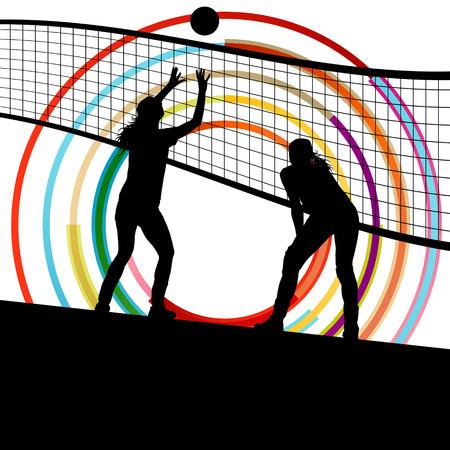 volleyball serve: Activo mujeres j�venes jugador de voleibol deporte siluetas en color de fondo abstracto ilustraci�n vectorial