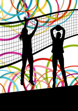 fiatal nők: Aktív fiatal nők röplabda játékos sport sziluettek az absztrakt színes háttér illusztráció vektor